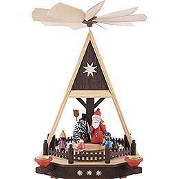 1 - Tier Pyramid  -  Santa with Children  -  33cm / 13 inch