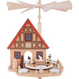 1 - stöckige Pyramide Haus mit Winterkindern für Teelichter  -  29cm