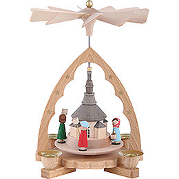 1 - st�ckige Pyramide Seiffener Kirche  -  19cm