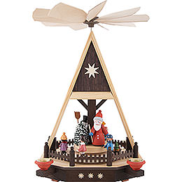 1 - stöckige Pyramide Weihnachtsmann mit Kindern  -  33cm