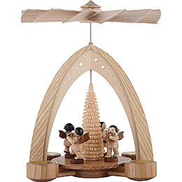1 - tier pyramid four angels natural with wind instruments  -  35x26,2x22,8cm / 13.8x10.2x9.1inch