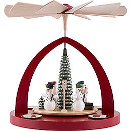 1 - tier pyramid snowmen, ruby red  -  23cm / 9inch