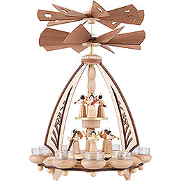 2 - tier pyramid for tealights Angels with two counter rotating winged wheels  -  43cm / 17inch