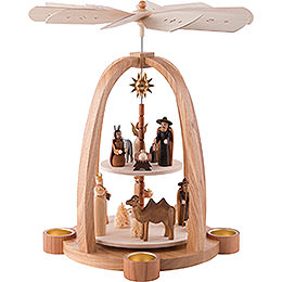 2 - tier pyramid  -  for tealights  -  Nativity Scene  -  41cm / 16 inch