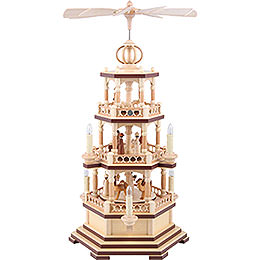 3 - Tier Pyramid  -  The Christmas Story  -  58cm / 23 inch  -  230 V Electr. Motor