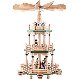 3 - stöckige Pyramide Heiligabend naturfarben  -  48cm