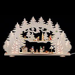 3D - Candle arch 'A snowman's wonderland'  -  66x40x8,5cm / 26x16x3.3inch