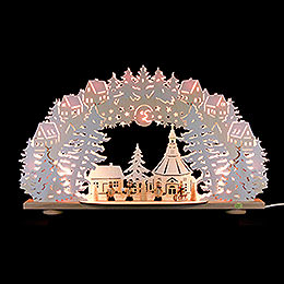 3D Candle arch 'Winter in Seiffen' with white frost  -  66x41x11,5cm / 26x16x4.5inch