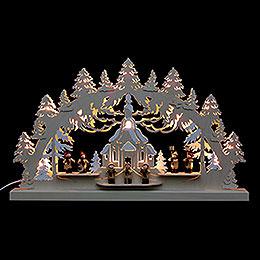 3D - Doppelschwibbogen  -  Seiffener Kirche  -  62 x 37 x 5,5cm