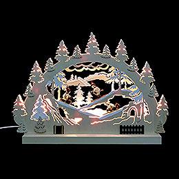 3D - Doppelschwibbogen  -  Winterlandschaft  -  42 x 30 x 4,5cm