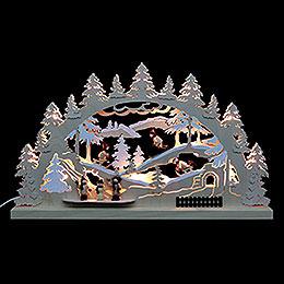 3D - Doppelschwibbogen  -  Winterlandschaft  -  62 x 37 x 5,5cm