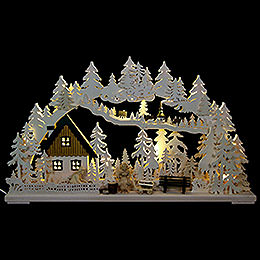 3D Schwibbogen  -  Altseiffener Handwerk mit geschnitzten Figuren  -  72x43x8cm