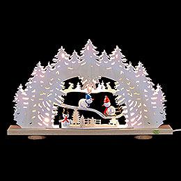 3D - Schwibbogen Schnemann mit Raufreif  -  52x31,5x6cm
