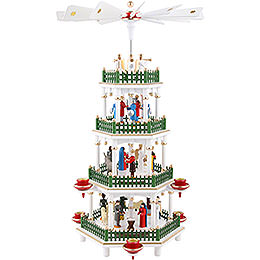 4 - stöckige Pyramide Christi Geburt weiss  -  47cm