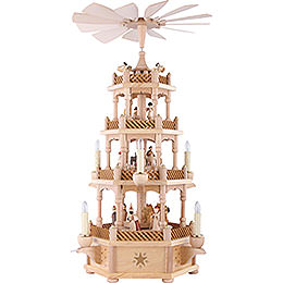4 -  tier Pyramid Nativity Scene natural wood  -  23 inch  -  59cm