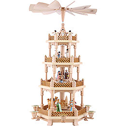 4 -  tier Pyramid Nativity Scene painted  -  21 inch  -  54cm