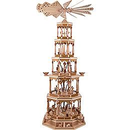 5 -  tier Pyramid Nativity Scene  -  natural wood  -  48 inch  -  123cm