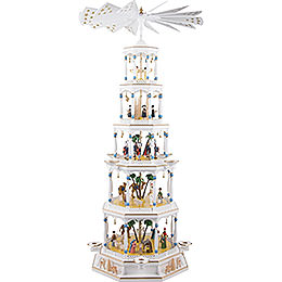 5 - tier pyramid Nativity with musical mechanism  -  123cm