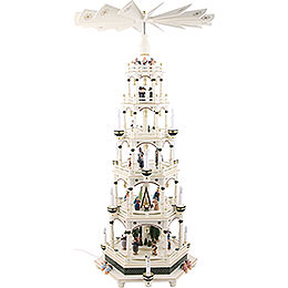 6 - tier pyramid white - green, electric  -  106cm / 41.7inch  -  220V Motor