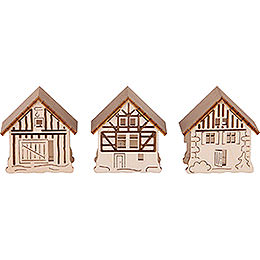 Additional houses, set of three  -  5,5x5cm / 2.2x2inch