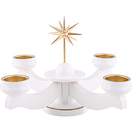 Advent candle holder with star, for thick candles or tea candles, white  -  19cm / 7.5inch