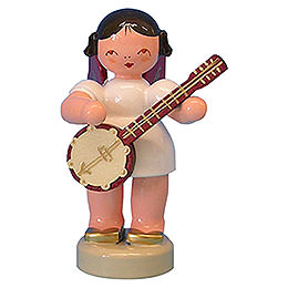 Angel with Banjo  -  Red Wings  -  Standing  -  6cm / 2,3 inch