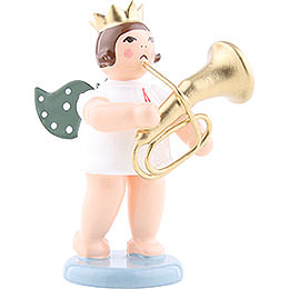 Angel with Crown and Tenor Horn  -  6,5cm / 2.5 inch