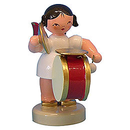 Angel with Drum  -  Red Wings  -  Standing  -  6cm / 2,3 inch