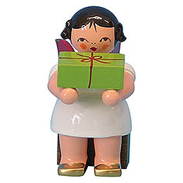 Angel with Gift  -  Red Wings  -  Sitting  -  6cm / 2,3 inch