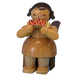 Angel with Harmonica  -  Natural Colors  -  Sitting  -  5cm / 2 inch
