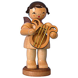 Angel with Lyre  -  Natural Colors  -  Standing  -  9,5cm / 3,7 inch