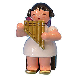 Angel with Panpipe  -  Red Wings  -  Sitting  -  5cm / 2 inch