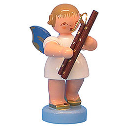 Angel with bassoon  -  Blue Wings  -  standing  -  6cm / 2,3 inch