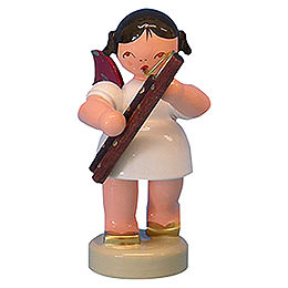 Angel with bassoon  -  Red Wings  -  standing  -  6cm / 2,3 inch