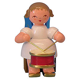 Angel with drum  -  Blue Wings  -  sitting  -  5cm / 2 inch