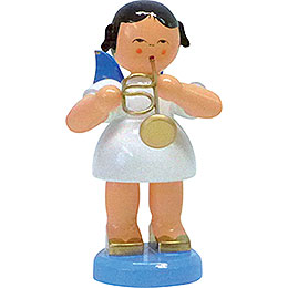 Angel with flugelhorn  -  Blue wings  -  standing  -  9,5cm / 3.7inch