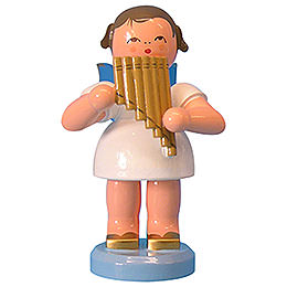 Angel with pan pipe  -  Blue Wings  -  standing  -  9,5cm / 3,7 inch