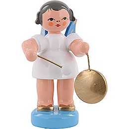 Angel with small gong  -  Blue Wings  -  standing  -  6cm / 2,3 inch