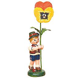 Blumenkind Junge mit Stiefmütterchen  -  11cm