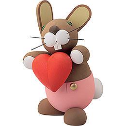 """Bunny """"Herbert"""" with Heart  -  16cm / 6.3 inch"""