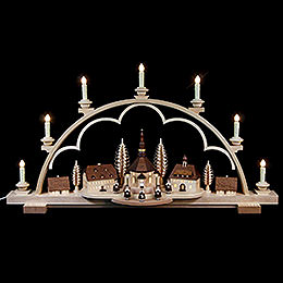 Candle Arch Seiffen Village natural wood, 120V  -  80x15x43cm / 31.5x6x17inch
