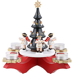 Candle Holder  -  Advent Red with Christmas Tree and Four Angels  -  27cm / 10.6 inch