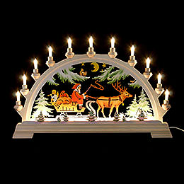 Candle arch Santa Claus on sleigh, colored  -  65x40cm / 26x17.5inch