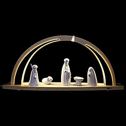 Candle arch modern wood: Nativity scene, large  -  57x26x10cm / 22,5x10x4inch