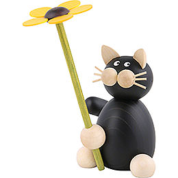 Cat Hilde with flower  -  8cm / 3.1inch