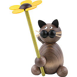 Cat Karli with flower  -  8cm / 3.1inch