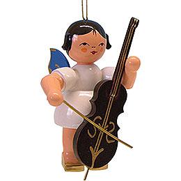 Christbaumschmuck Engel mit Cello  -  blaue Flügel  -  schwebend  -  9,5cm