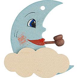 Christbaumschmuck Mond blau und weiß  -  5cm