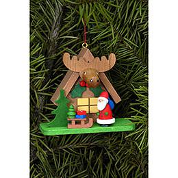 Christbaumschmuck Waldhaus mit Weihnachtsmann  -  7,1 x 6,2cm