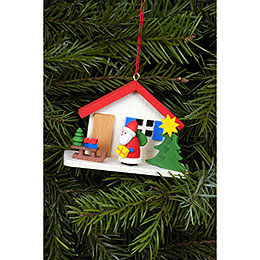 Christbaumschmuck Weihnachtsmann am Haus  -  7,0 x 5,0cm